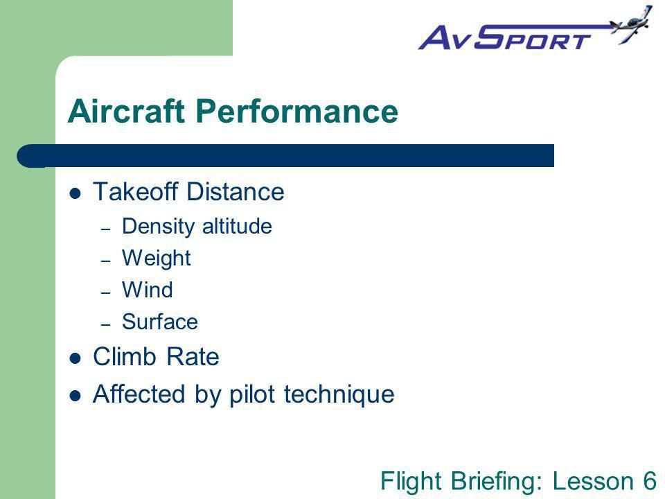 Aircraft Performance Takeoff Distance Climb Rate