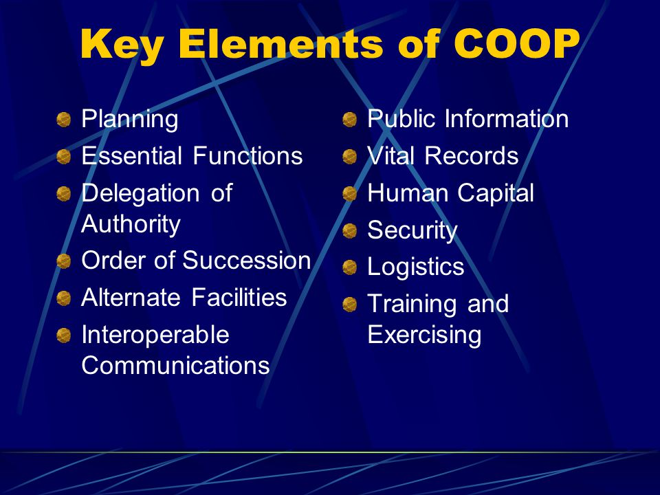 Key Elements of COOP Planning Essential Functions