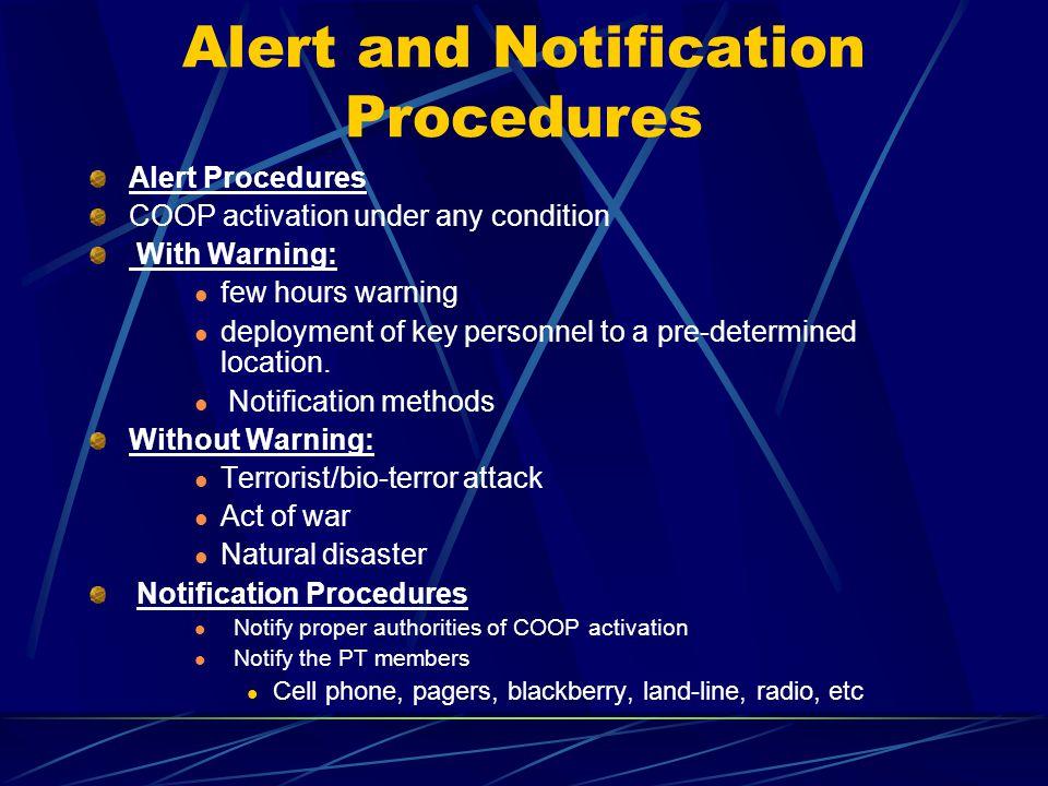 Alert and Notification Procedures