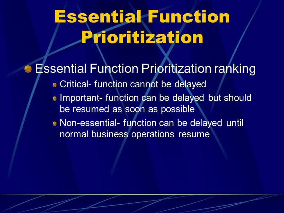 Essential Function Prioritization
