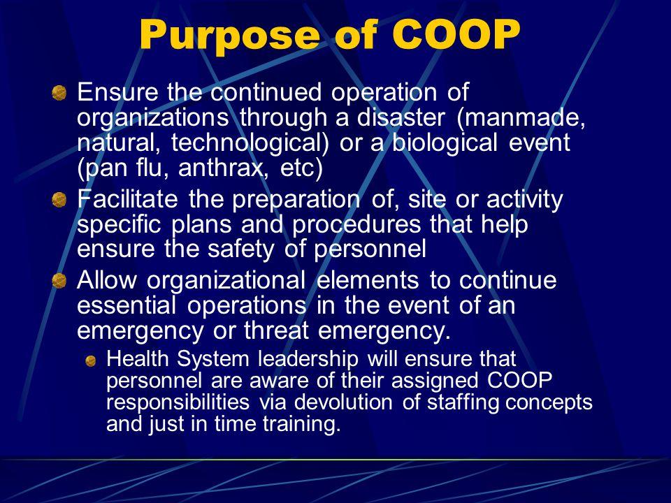Purpose of COOP
