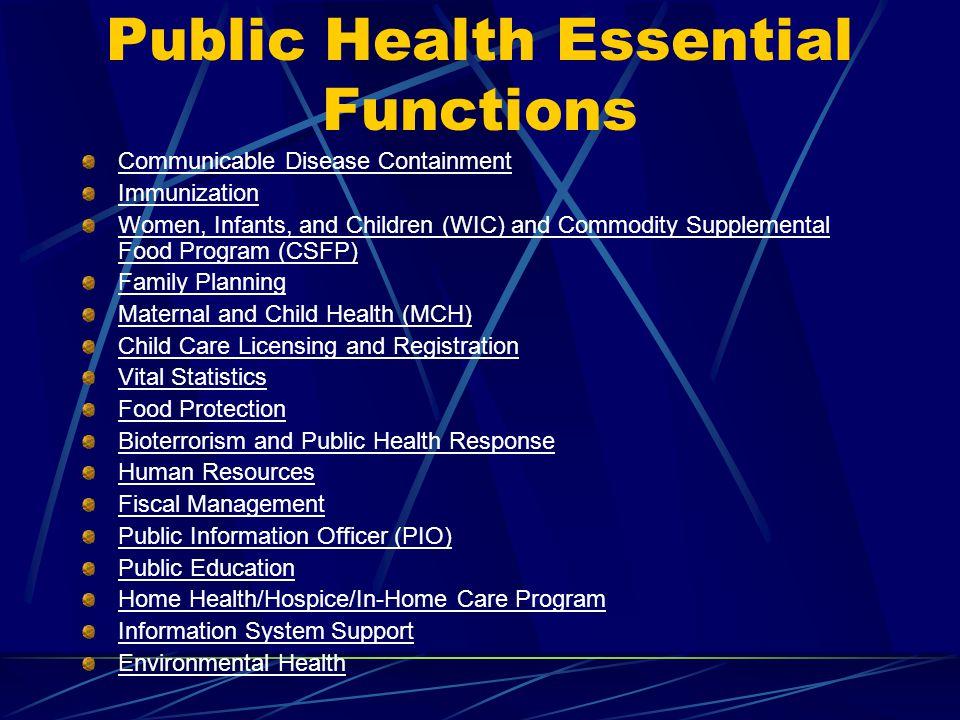 Public Health Essential Functions