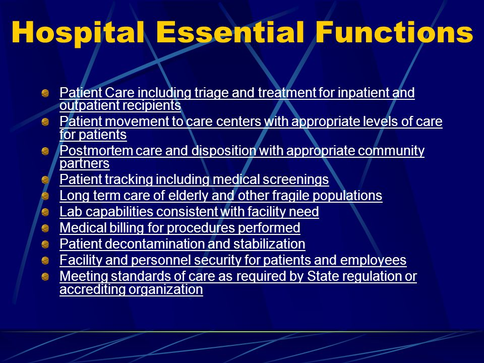 Hospital Essential Functions