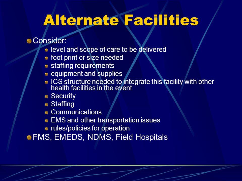 Alternate Facilities Consider: FMS, EMEDS, NDMS, Field Hospitals