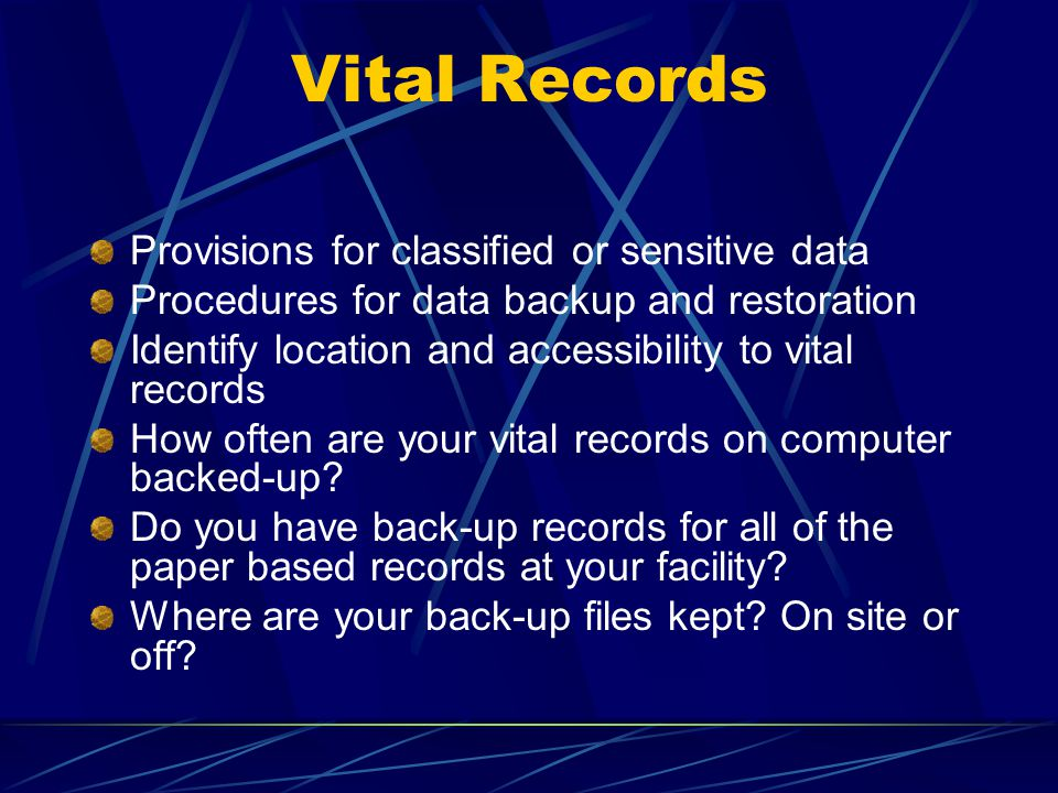 Vital Records Provisions for classified or sensitive data