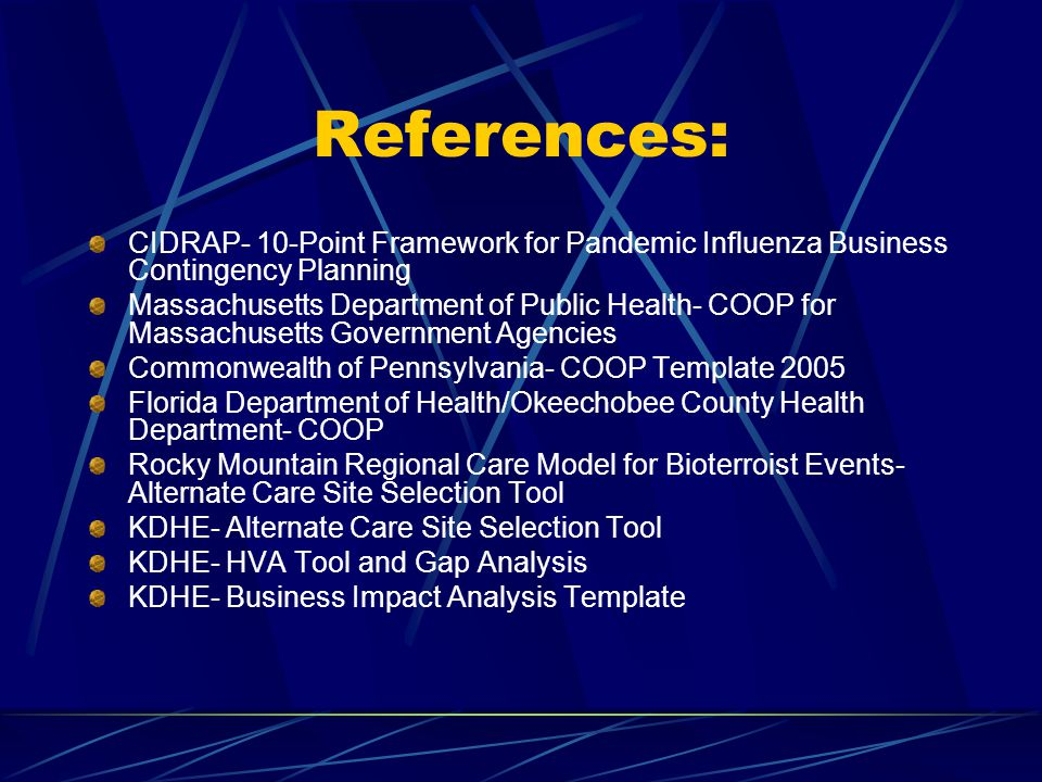 References: CIDRAP- 10-Point Framework for Pandemic Influenza Business Contingency Planning.