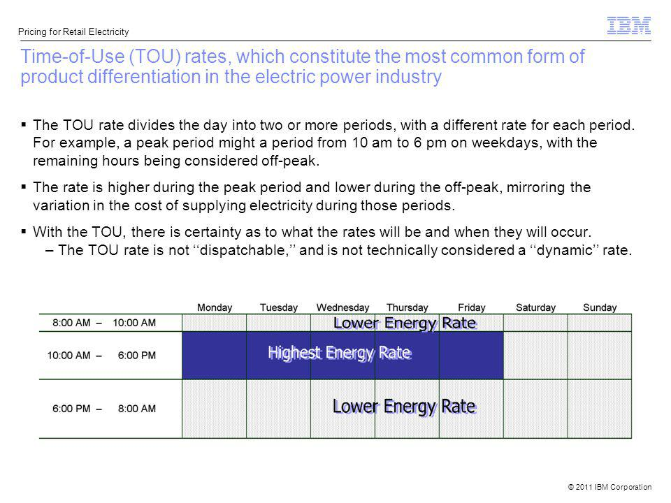 Time-of-Use (TOU) rates, which constitute the most common form of product differentiation in the electric power industry