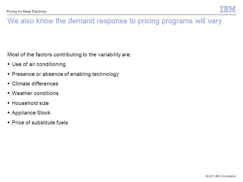 We also know the demand response to pricing programs will vary