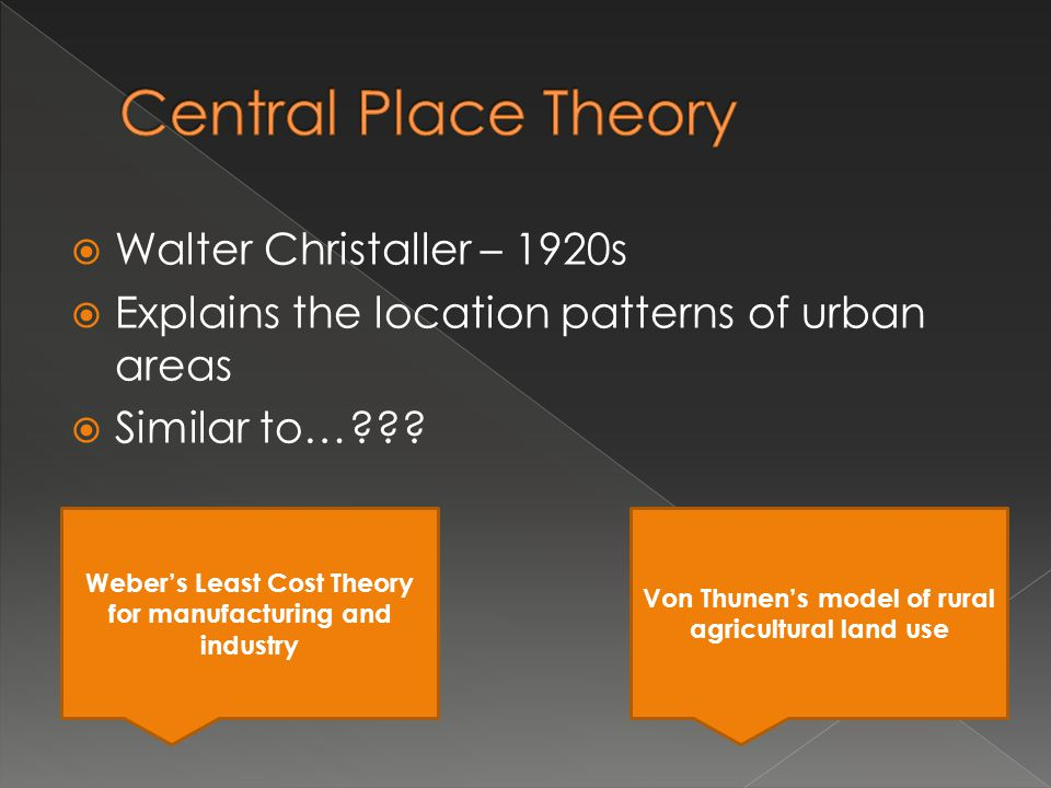 Central Place Theory Walter Christaller – 1920s