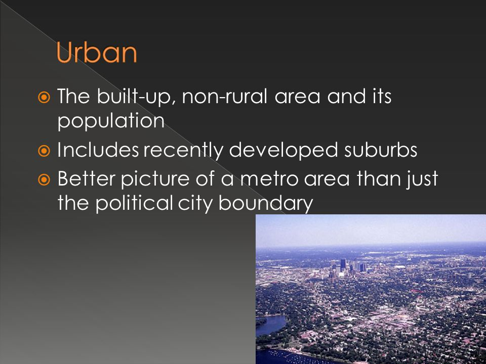 Urban The built-up, non-rural area and its population