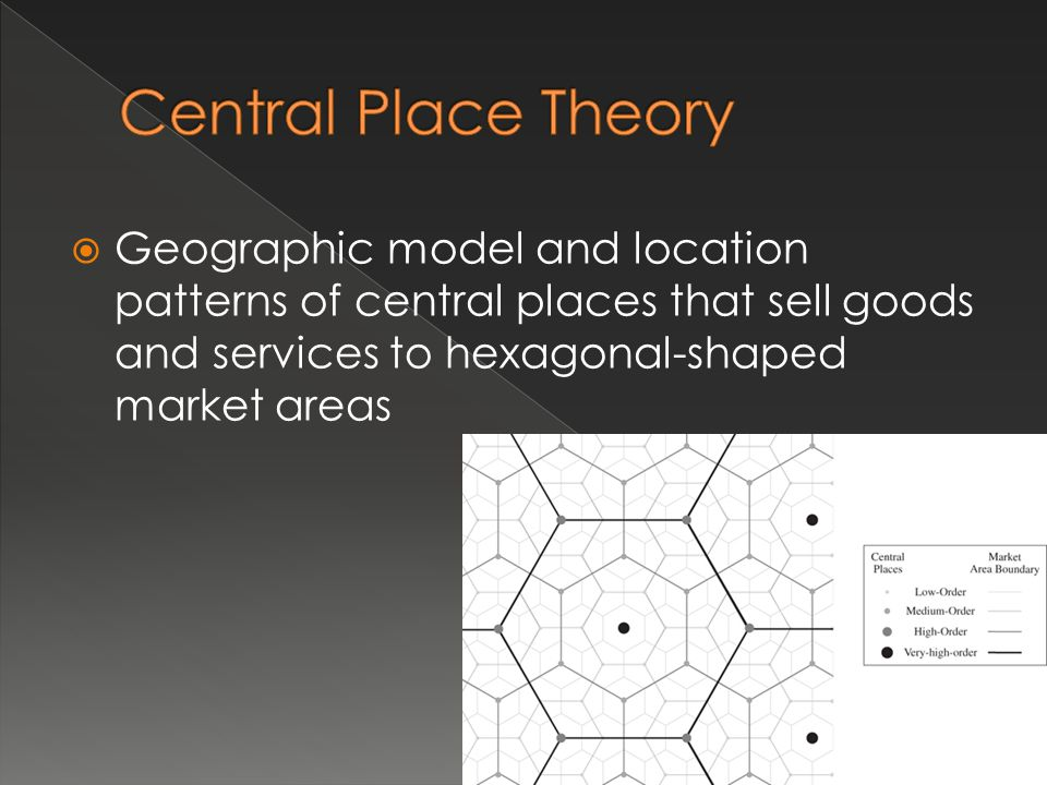 Central Place Theory Geographic model and location patterns of central places that sell goods and services to hexagonal-shaped market areas.