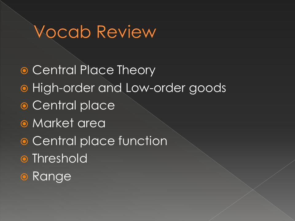Vocab Review Central Place Theory High-order and Low-order goods