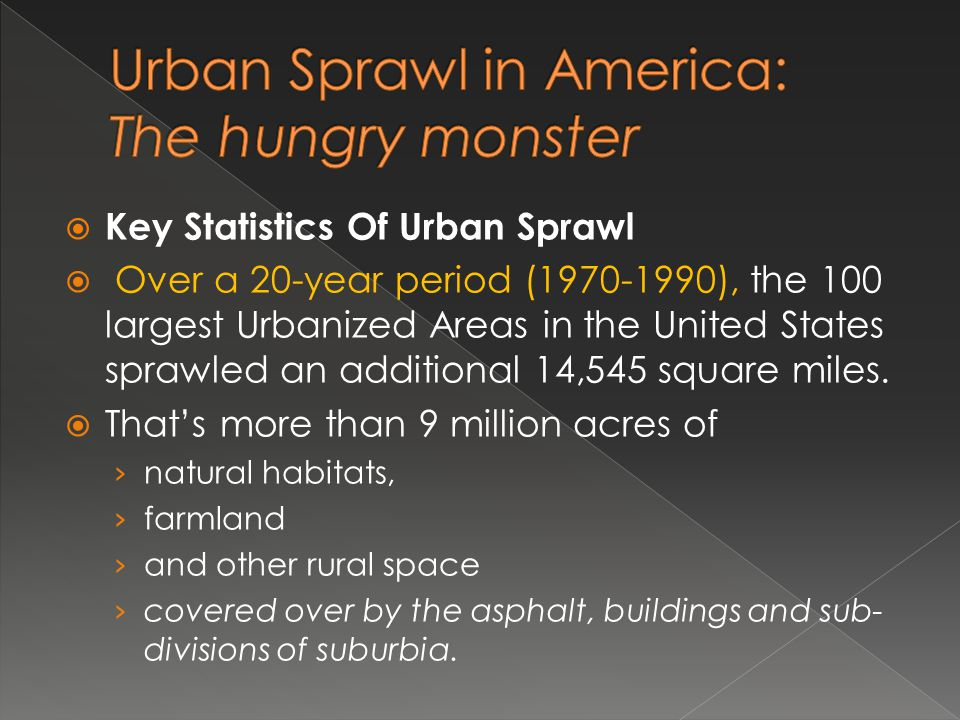 Urban Sprawl in America: The hungry monster
