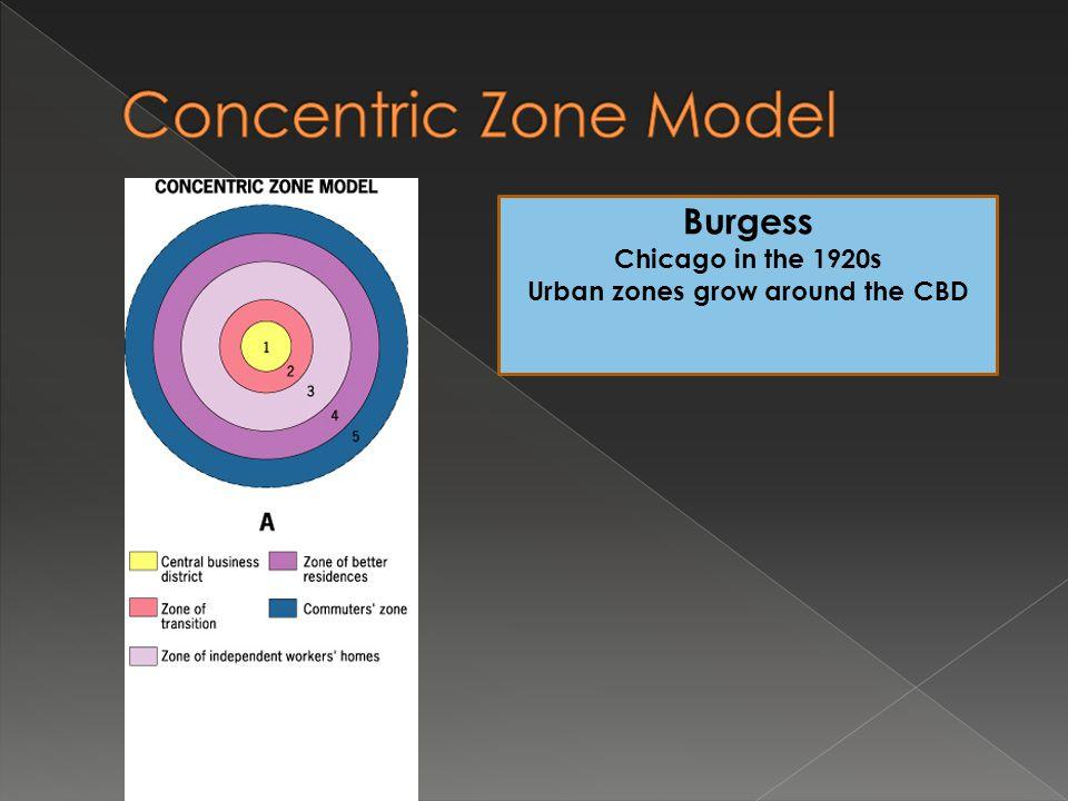 Urban zones grow around the CBD