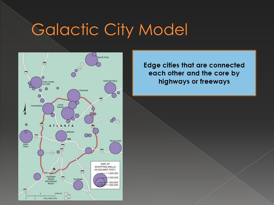 Galactic City Model Edge cities that are connected each other and the core by highways or freeways