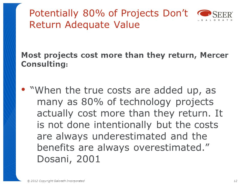 Potentially 80% of Projects Don't Return Adequate Value