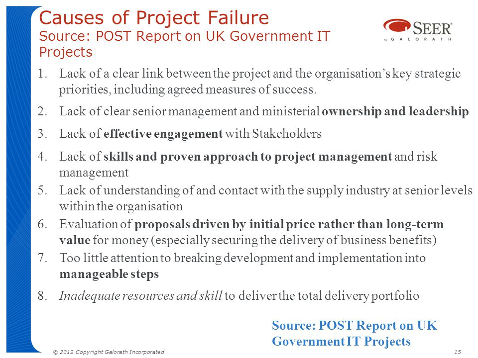 Causes of Project Failure Source: POST Report on UK Government IT Projects