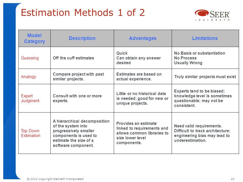 Estimation Methods 1 of 2 Model Category Description Advantages