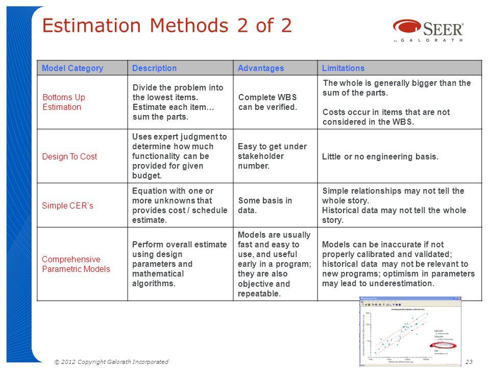 Estimation Methods 2 of 2 Model Category Description Advantages