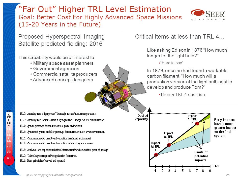 Far Out Higher TRL Level Estimation Goal: Better Cost For Highly Advanced Space Missions (15-20 Years in the Future)