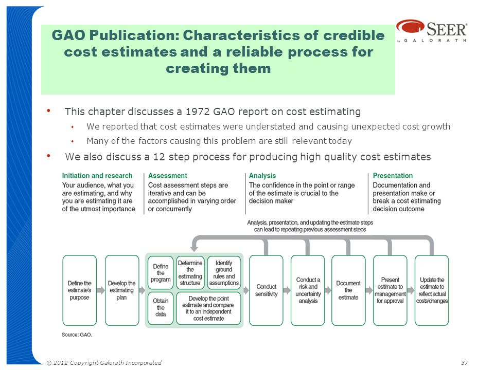 GAO Publication: Characteristics of credible cost estimates and a reliable process for creating them