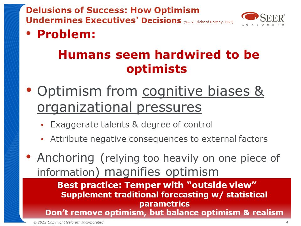 Optimism from cognitive biases & organizational pressures
