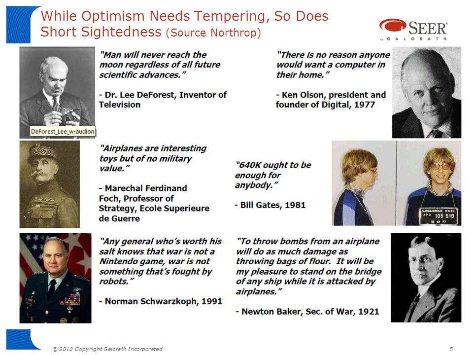 While Optimism Needs Tempering, So Does Short Sightedness (Source Northrop)