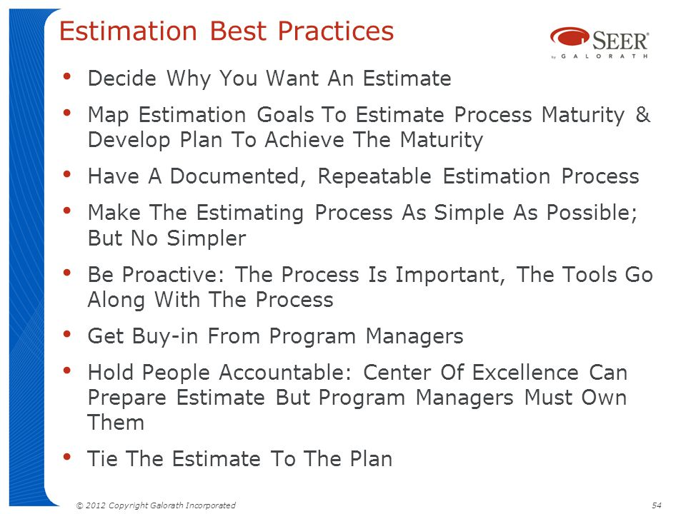 Estimation Best Practices