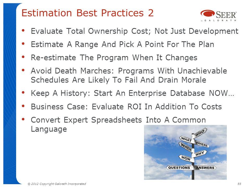 Estimation Best Practices 2
