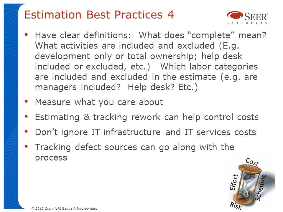 Estimation Best Practices 4