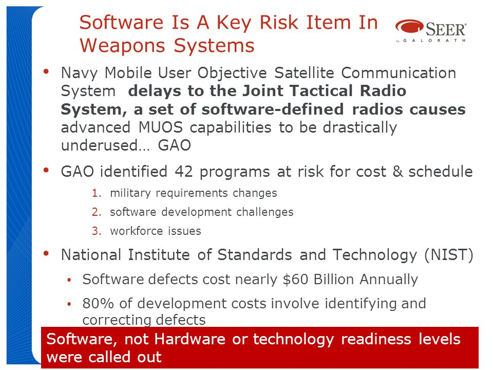 Software Is A Key Risk Item In Weapons Systems