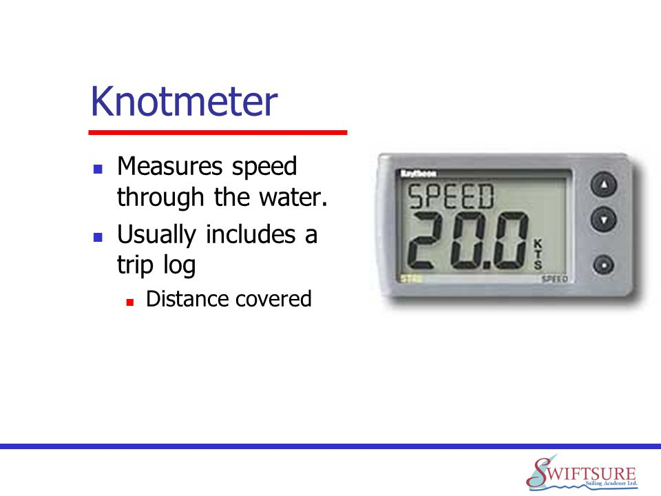 Knotmeter Measures speed through the water.