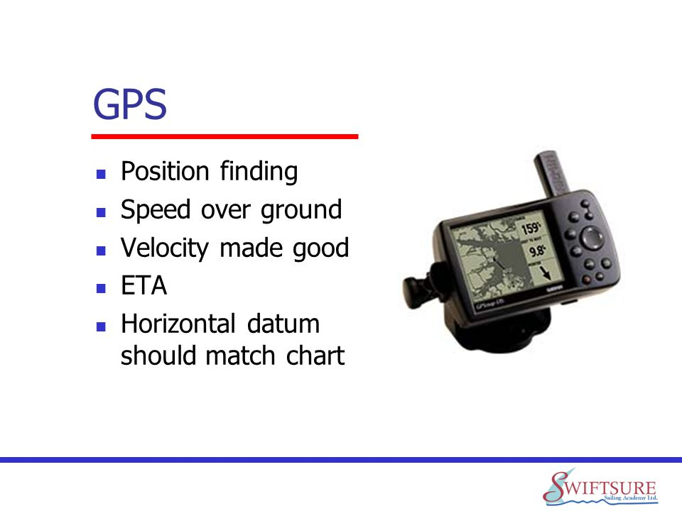 GPS Position finding Speed over ground Velocity made good ETA