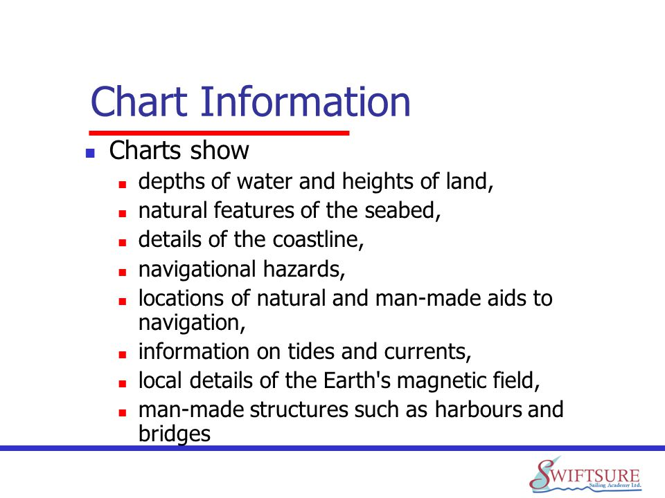 Chart Information Charts show depths of water and heights of land,