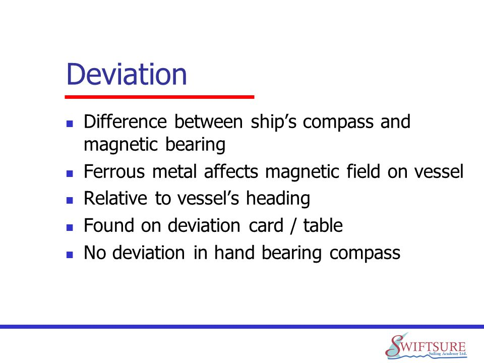 Deviation Difference between ship's compass and magnetic bearing