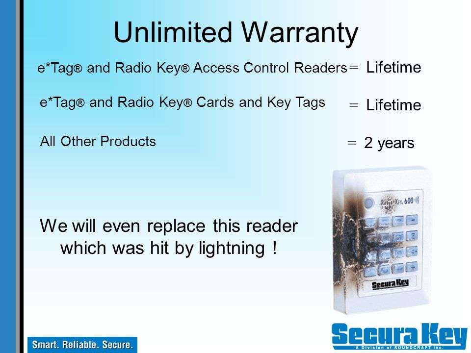 Unlimited Warranty e*Tag® and Radio Key® Access Control Readers. = Lifetime. = 2 years. e*Tag® and Radio Key® Cards and Key Tags.