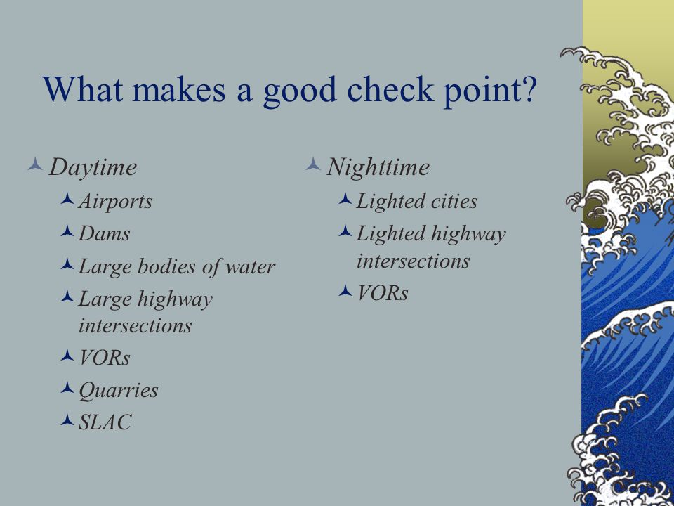 What makes a good check point
