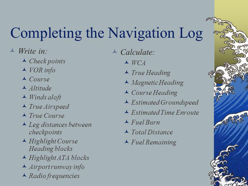Completing the Navigation Log