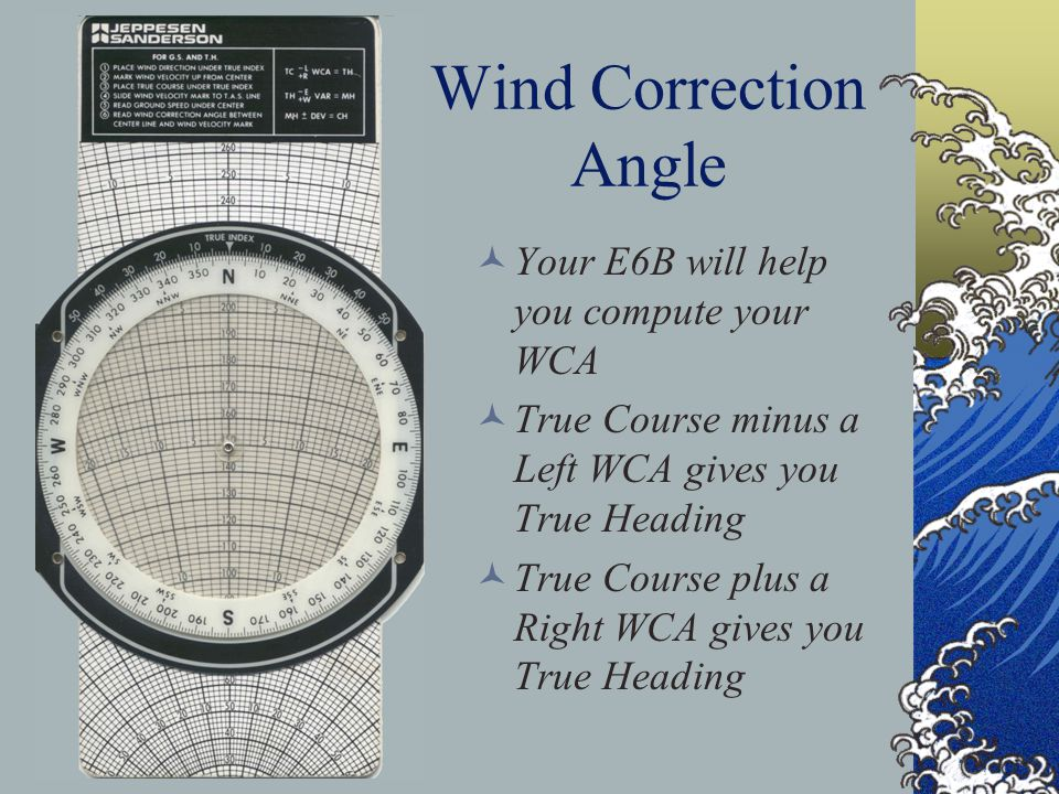 Wind Correction Angle Your E6B will help you compute your WCA