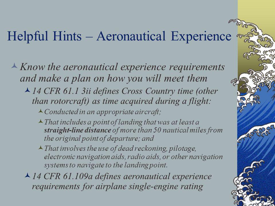 Helpful Hints – Aeronautical Experience