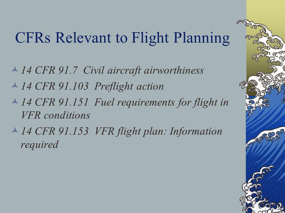 CFRs Relevant to Flight Planning