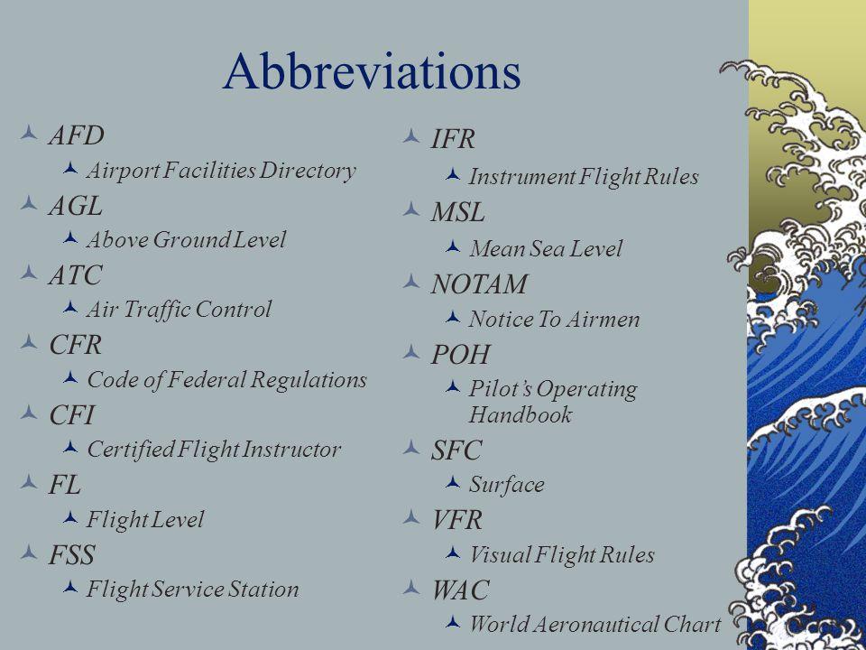 Abbreviations AFD AGL ATC CFR CFI FL FSS IFR MSL NOTAM POH SFC VFR WAC