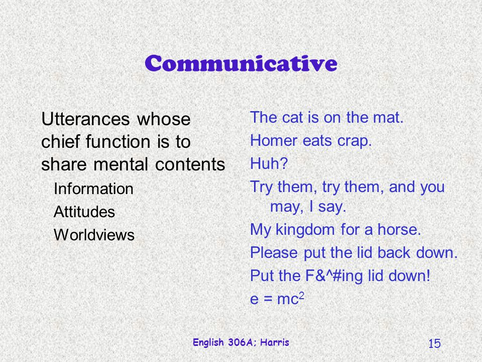 Communicative Utterances whose chief function is to share mental contents. Information. Attitudes.
