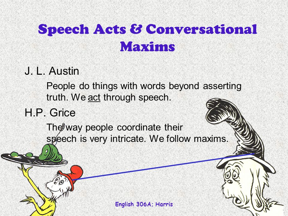 Speech Acts & Conversational Maxims