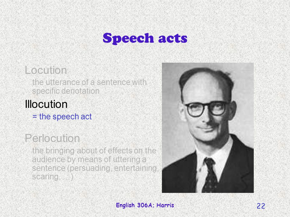 Speech acts Locution Illocution Perlocution
