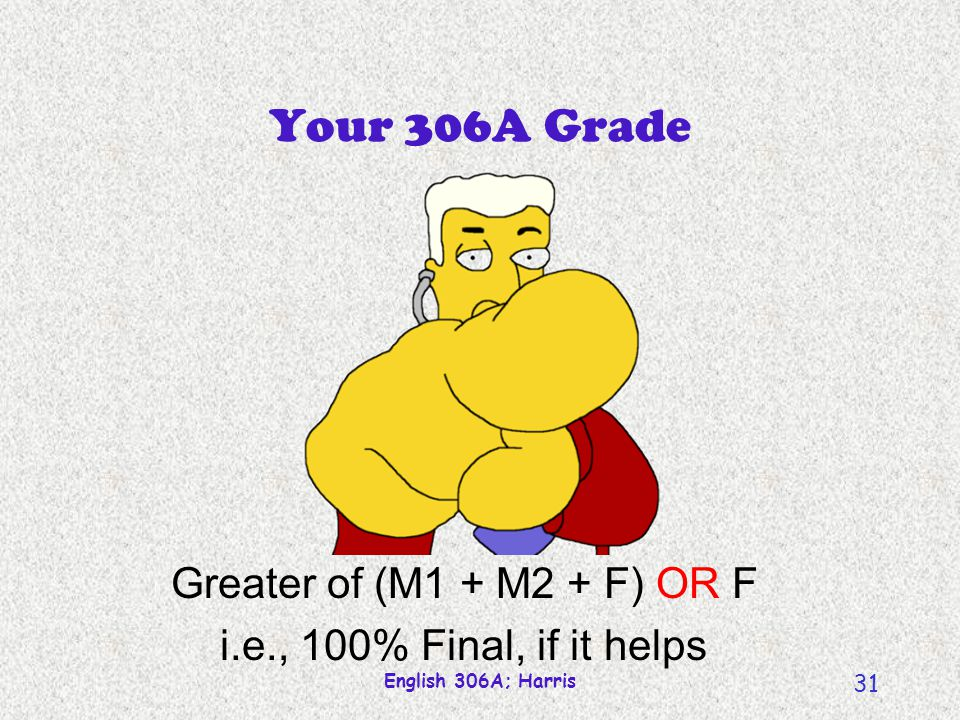 Your 306A Grade Greater of (M1 + M2 + F) OR F