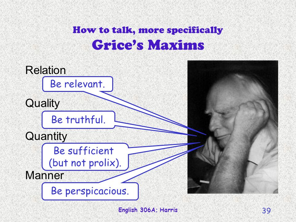 How to talk, more specifically Grice's Maxims