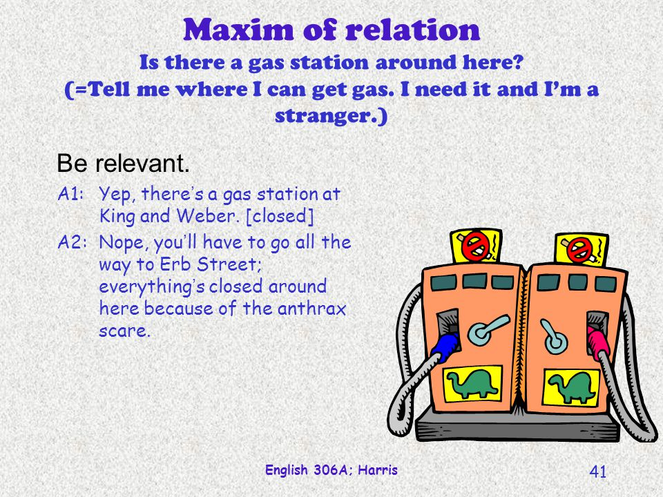 Maxim of relation Is there a gas station around here