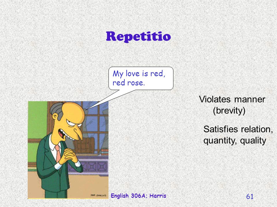 Repetitio Violates manner (brevity) Satisfies relation,