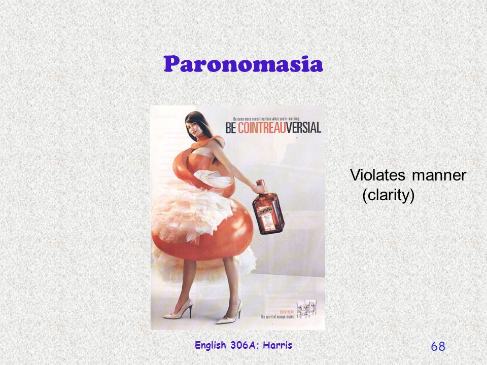 Paronomasia Violates manner (clarity) English 306A; Harris